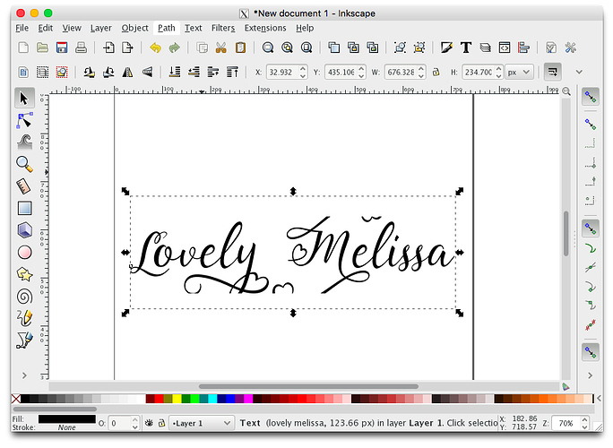 font clipped inkscape